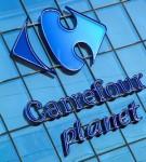 logo Carrefour Planet Paderno Dugnano à Milan : logo sur la façade du magasin.