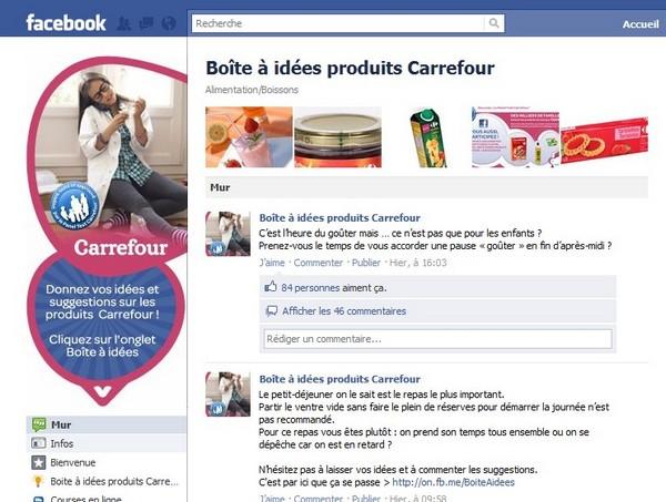 boite a idees produits Carrefour facebook