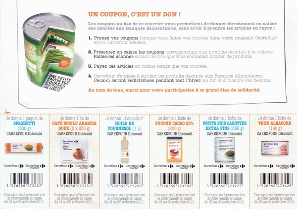 Carrefour banque alimentaire discount