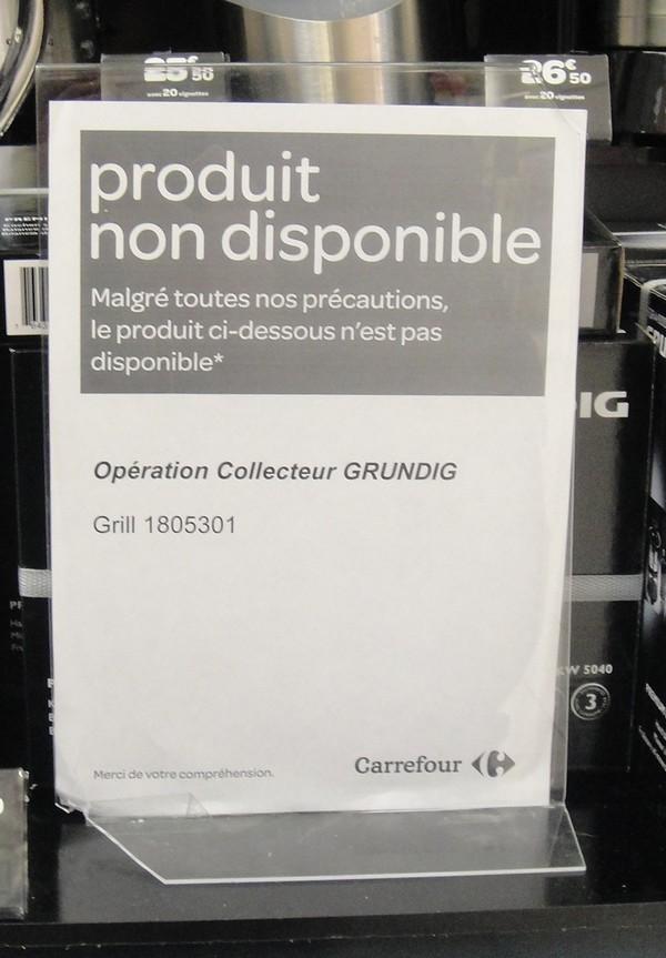 Le grill Grundig non disponible, sans explication