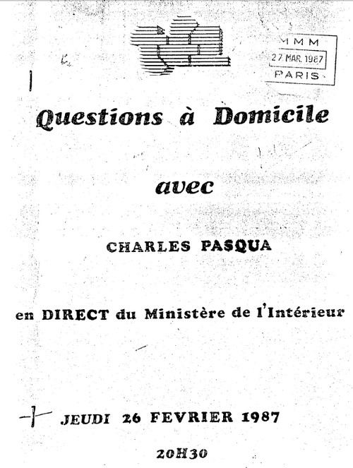 charles pasqua question a domicile 1987