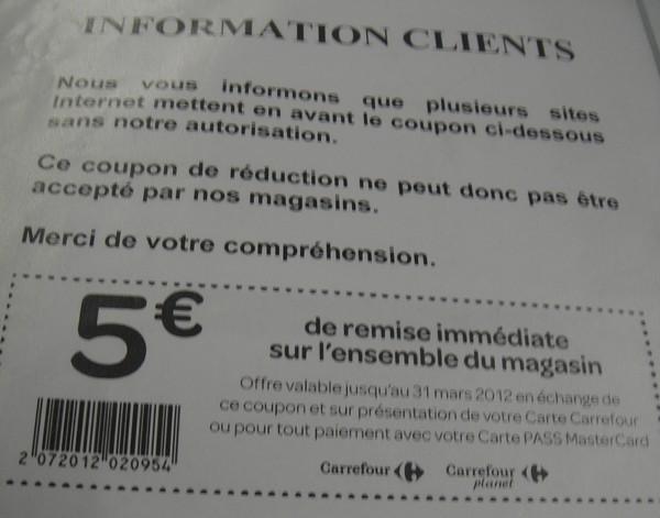 faux coupon de réduction carrefour 31 mars 2012