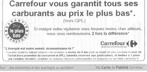 carrefour carburants au prix le plus bas ticket