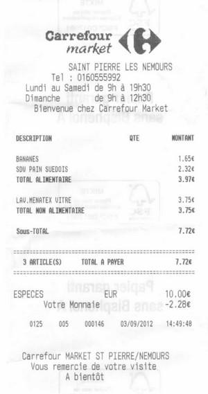 Carrefour market saint pierre les nemours ticket
