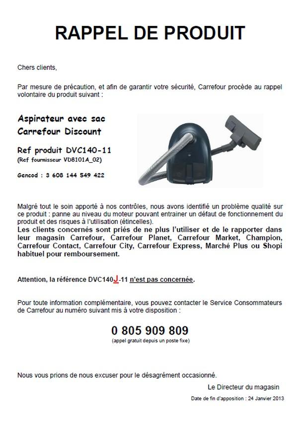 carrefour aspirateur rappel discount