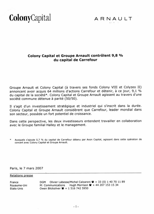 colony capital arnault carrefour mars 2007