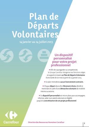Carrefour plan de depart volontaire 2013