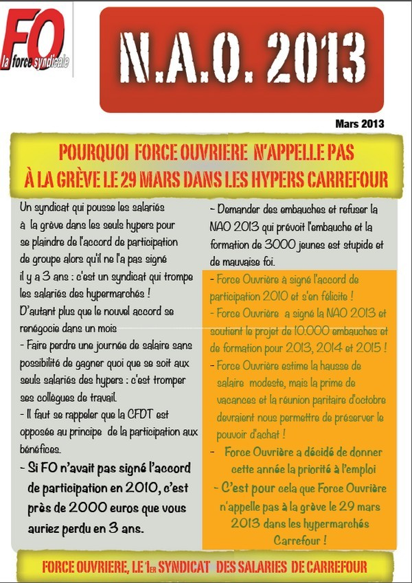 FO greve carrefour 29 mars 2013