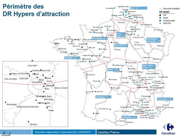 Carte Hypermarche Carrefour.Carrefour France Nouvelle Repartition Des Hypermarches En