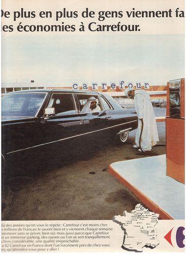 Carrefour 1974 publicite moins cher essence