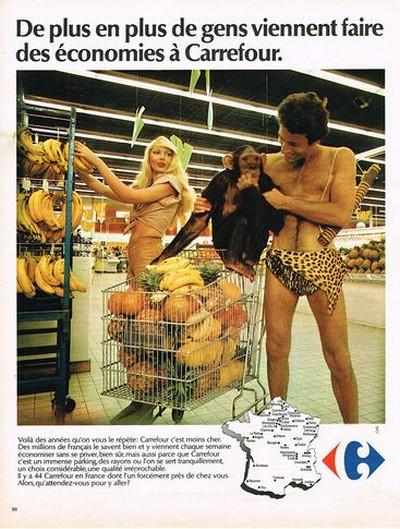 Carrefour 1974 publicite moins cher singe