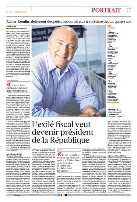 Xavier Kemlin actionnaires suisse
