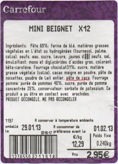 etiquette carrefour beignet