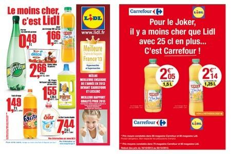carrefour lidl publicite comparative